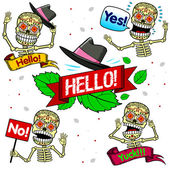 Funny skeletons. Emotions. Part One. — Stock Vector