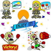 Funny skeletons. Emotions. Part Three. — Stock Vector