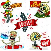 Funny skeletons. Emotions. Part Two — Stock Vector