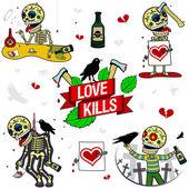 Funny skeletons. Love Kills. — Stock Vector