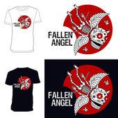 Skeletons. T-shirt. Fallen angel. — Stock Vector