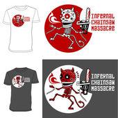 Skeletons. T-shirt. Infernal Massacre. — Stock Vector
