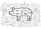 Beef Pork Lamb Chicken — Stockvector