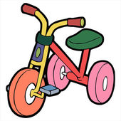Tricycle cartoon illustration isolated on white — Stock Vector