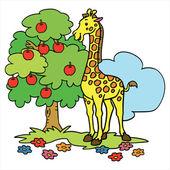 Giraffe cartoon illustration isolated on white — ストックベクタ