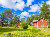 Scandinavian red cottage — Stock Photo