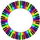 Round colored piano keyboard frame — Stockvektor