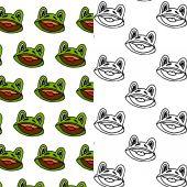 Cartoon frog seamless pattern design set — Stock Vector