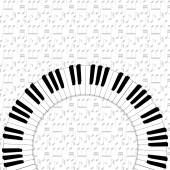 Piano keyboard on note backgorund — Stock Vector
