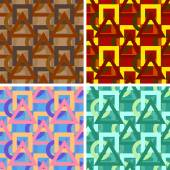 Seamless abstract art pattern set — Stock Vector