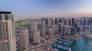 Dubai Marina with yachts day to night timelapse — Stock Video