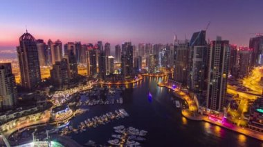 Dubai marina harbor panorama from night to day transition timelapse — Stock Video