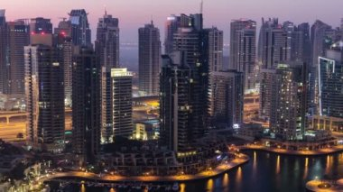 Dubai marina harbor from night to day transition timelapse close view — Stock Video