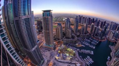 Dubai marina harbor panorama from night to day transition timelapse fisheye — Stock Video