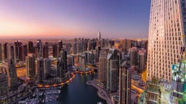 Dubai marina harbor from night to day transition timelapse — Stock Video