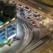 Traffic on intersection with tram at night timelapse from top, Dubai Marina — Stock Video #68699271