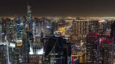 Dubai Marina at Blue hour, Glittering lights and tallest skyscrapers timelapse — Stock Video