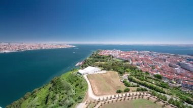 Lisbon on the Tagus river bank, central Portugal timelapse — Stock Video