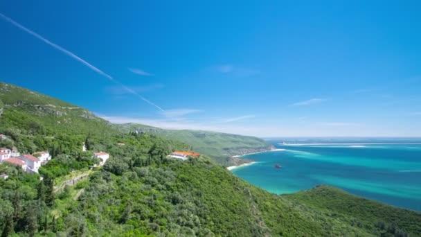 Beach bay in Portinho da Arrabida from top, Portugal timelapse — Vidéo