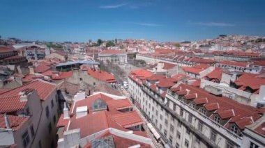 Rossio square in the central Lisbon with a monument of the king Pedro IV from Santa Justa Elevator. Portugal. timelapse — Stock Video