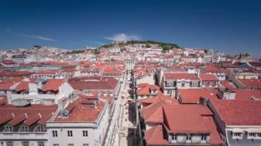 View from the Elevador de Santa Justa to the old part of Lisbon timelapse — Stock Video