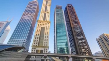 Skyscrapers at Sheikh Zayed Road in Dubai, United Arab Emirates timelapse — Stockvideo