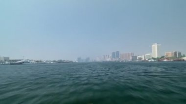 Excursion on traditional Abra boat at the creek in Dubai, UAE timelapse part 5 — Stock Video