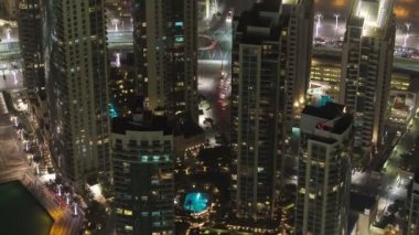 Dubai downtown at night with city lights from Burj Khalifa timelapse — Stock Video