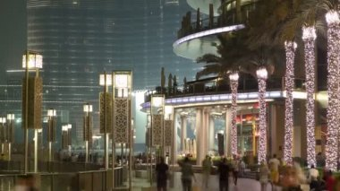 Area near the Dubai Fountain at night, UAE timelapse — Stock Video