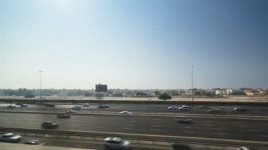 Dubai Metro. A view of the city from the subway car on road, Dubai, UAE. Timelapse — Stock Video
