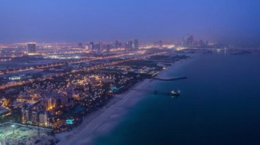 Dubai Marina Skyline night to day from Burj Al Arab. United Arab Emirates timelapse — Stock Video