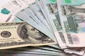 Hundred dollars and five thousand rouble banknotes — Stock Photo