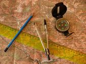 Orientation on a topographic map — Stock Photo