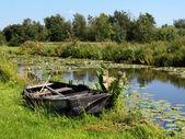 Abandoned boat near pond — Stock Photo