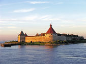 Shlisselburg at sunset — Stock Photo