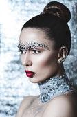 Girl with shining make up — Stock Photo