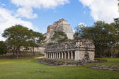 Uxmal in Mexico - panorama with temple and pyramid — Stock Photo