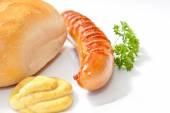 Grilled Sausage - Bratwurst with mustard, bread and parsley — Zdjęcie stockowe
