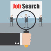 Job search under magnifying glass — Vettoriale Stock
