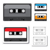 Audio tape cassette record, flat design. — Stock Vector