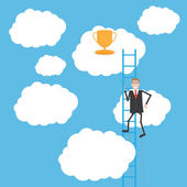 Businessman climbing the ladder for the cup — Stok Vektör