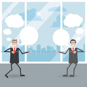 Businessmen pull rope in the office — Vector de stock