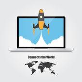 Realistic laptop. Start up concept — Stockvektor