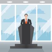 Speaker man in the office of tribune — Stock Vector