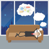 Programmer asleep and thinking — Stock Vector