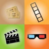 Set of cinema icons — Stock Vector