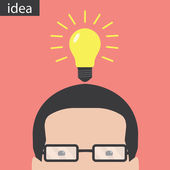 Light bulb idea and head — Vector de stock