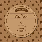 Brown abstract coffee label. — Stock Vector