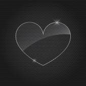 Background Metal texture plate with heart. — Stock Vector