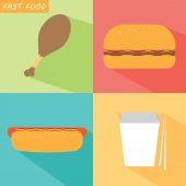 A set of different fast foods — Stock Vector